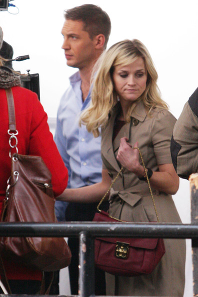 "Reese Witherspoon films a scene with co-star Tom Hardy for the upcoming McG-directed film ""This Means War."