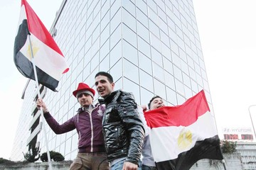 Hosni Mubarak Egyptians in Milan Celebrate
