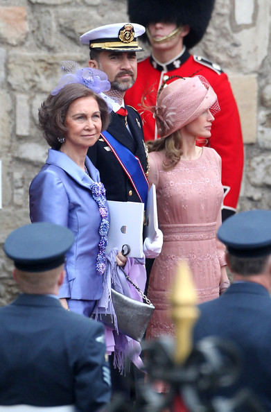 Queen Sofia of Spain and Prince Felipe and Princess Letizia after the Royal Wedding of Prince William and Kate Middleton held at Westminster Abbey. Kate & Wills announced their engagement in November last year after William proposed during a holiday in Kenya. The Royal couple will be known after the wedding as the Duke and Duchess of Cambridge.