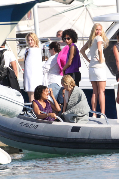 The new Charlie's Angles, Minka Kelly, Rachael Taylor and Annie Ilonzeh, are seen filming a scene together in Cardon Park for the upcoming reboot TV series. The girls were spotted filming a scene together where they dove off the back of a boat into the ocean. During a break in filming, Rachael Taylor was spotted walking with a large black umbrella while Minka Kelly and Annie Ilonzeh laughed together while playing with Minka's dog Chewy.