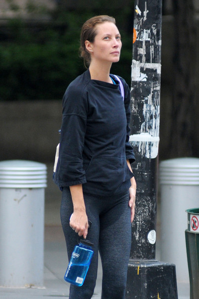 sweaty Christy Turlington, with a wetstained crotch area, spotted