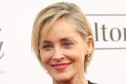 Sharon Stone Side Parted Straight Cut