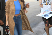 Selena Gomez Leather Coat