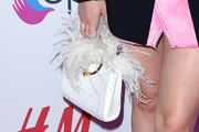 Ariel Winter Feathered Clutch